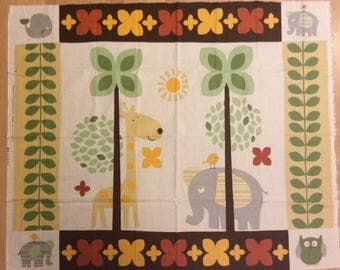 An Adorable African Jungle Animals Elephant And Giraffe Cotton Fabric Panel Free US Shipping