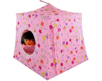 Toy Pop Up Tent, Sleeping Bags, light pink, flower print fabric for dolls, stuffed animals
