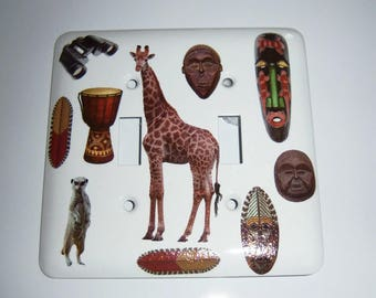 Safari themed double  light switch cover, Kids Room, Giraffe, Tribal Masks, Safari, Drum, Binoculars