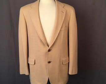 Tan Camel Hair Blazer 44 Two Button Vintage Preppy Tailored Fitted Sports Coat jacket Donald Brooks