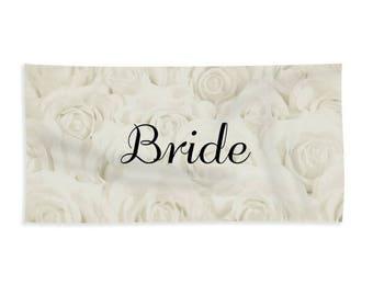 "Light Ivory ""Bride"" Towel for Bath or Beach, bridal towel, gift for bride, bridal shower gift, honeymoon, destination wedding- 1610IVBRIDE"