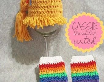 Rainbow Brite Crochet Hat, Rainbow Brite costume, Rainbow Brite hat & leg warmers, Rainbow Brite INSPIRED costume, Rainbow Brite Photo Prop