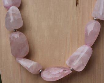 Chunky Rose Quartz Necklace