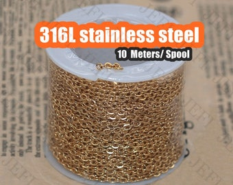 Wholesale 10 Meters Spool 24K Gold Plated 316L Stainless Steel Chain Flat Oval Links- 1x1.3mm / 1.2x1.5mm/ 1.5x2mm/ 2x2.5mm/ 2.5x3mm / 3x4mm