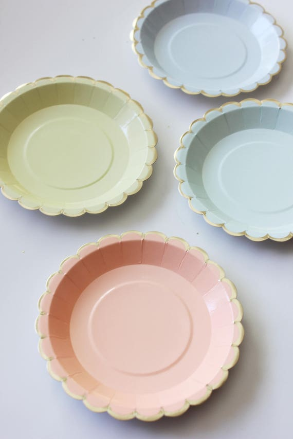 Like this item? & Sale 10 MINI PAPER PLATES Floral Unicorn Theme Scallop Pastel