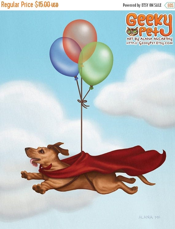 SALE Superwiener - 8 x 10 art print - dachshund dog dressed up like superman with balloons and a cape in the sky