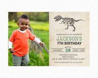 Dinosaur Birthday Party Invitation, Dinosaur T-Rex Boy Invitation, Dinosaur Invitation, Printable or Printed