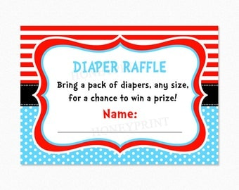 Dr Suess Baby Shower Diaper Raffle Cards, Red, Blue, Printable PDF