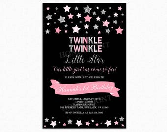Twinkle Twinkle Little Star Birthday Invitation, First Birthday Party Invitation, Stars, Pink, Silver Glitter, Printable or Printed