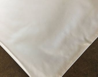 Square Solid White Oilcloth Tablecloth with Simple Hem