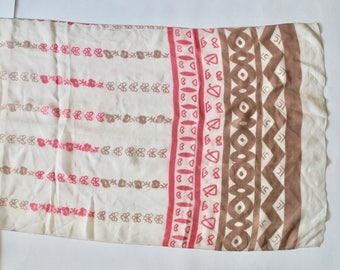 Vintage 1950s Pink and Brown Mid Century Modern Print Long Silk Scarf