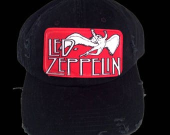 Led Zeppelin Black  Distressed Baseball Hat