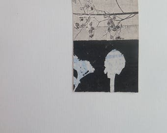 Small original hand printed abstract botanical mini print ACEO Soft dusky blue on cream paper Stef Mitchell