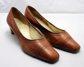 Vintage Brown Ladies Flare Fit Styl-eez Selby Leather Shoes Narrow fit Uk Size 8