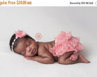 ON SALE Coral Lace bloomer and Headband Set, Baby Bloomers, Rhinestone Headband, Baby Girl Prop, Newborn Photography Prop, MANY Colors Avail