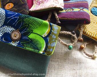 Purse African Batik Card Holder - Ethnic Tribal Blue / Green Card Holder Indie Wallet - (Med Size) - Made Upon Order