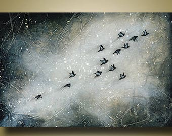 PRINT or GICLEE Reproduction -- Flock of Birds, Abstract Birds Flying, Black and Gray Art - Limited Edition Print by Britt Hallowell