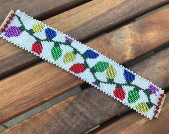 Christmas Lights . Peyote Stitched . Indian Seed Beaded Bracelet . Holiday Cuff . Christmas . Colorful . Weave . Woven . Seasonal . Handmade