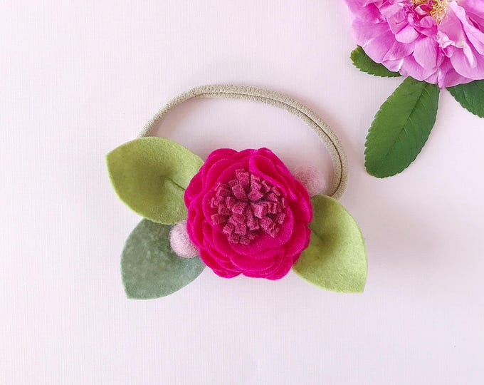 Featured listing image: Berry Punch // Single Flower Headband or Alligator Clip, Carnation Felt Flower Accessories