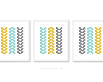 Mid Century Leaves Prints - Set of 3 - Mid Century Modern Wall Art - Mid Century Leaves Art Prints - Custom Color - 5x7 - 8x10