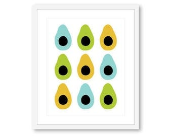 Avocado Art Print -  Modern Avocado Art - Fruit Art - Kitchen Decor - Avocado Wall Art - Custom Color - 8x10 on 8.5x11 - Aldari Art