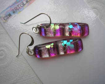 Statement Earrings Fuschia Extravaganza Dichroic Fused Glass Jewelry Long Color Shifting Glass Dangle Earrings Sparkling Iridescent Dichro