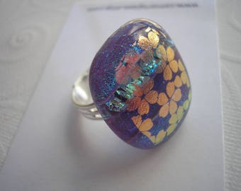 Blue & Coral Flowered Ring Statement Jewelry Adjustable Band Dichroic Fused Glass Sterling Plated Jewelry with Flowers Cocktail Ring Fun