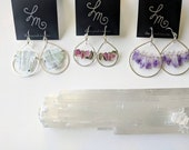 RESERVED for Elizabeth - Aquamarine, Watermelon Tourmaline, and Amethyst three piece earring set - RESERVED