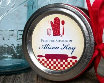 Custom From the Kitchen of labels, personalized round red stickers for canning jars or baked goods, regular or wide mouth canning labels