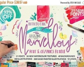 80% OFF 93 Percent OFF Sale, Marvellous fonts Bundle, Digital Fonts and Graphics Deal, Brand New from Creativeqube, Watercolor Clipart, Digi