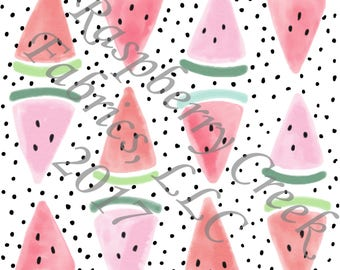 Salmon Pink Mint and Black Polka Dot Watermelon 4 Way Stretch Jersey Knit Fabric, Summer Fruits By Ella Randall for Club Fabrics