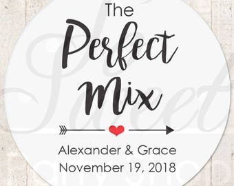 The Perfect Mix Sticker, Wedding Favor Stickers, Treat Bag Sticker, Sweet and Salty, Favorite Stickers, Snack Stickers - Set of 24