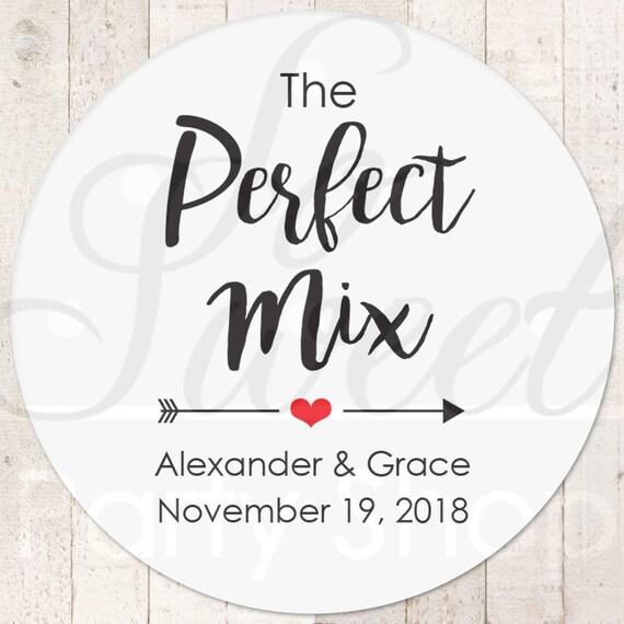 The Perfect Mix Sticker Wedding Favor Stickers Treat Bag Sticker