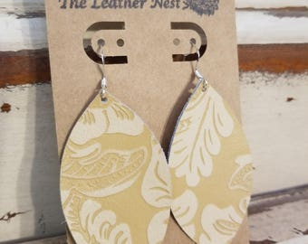 Leather Earrings, Leather Jewelry, Creme, Flower, Vintage, Statement Earrings, 100% Leather, Leaf, Drop, Dangle, Lightweight
