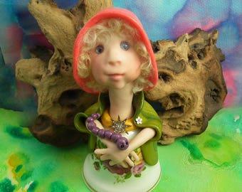 """20% discount this weekend Elf Maiden 'Princess Grace' of 'Zilvanos' 6+1/2"""" Art Doll OOAK Sculpt by Sculpture Artist Ann Galvin"""
