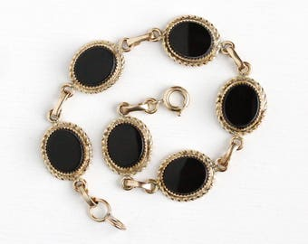 Vintage 12k Rosy Yellow Gold Filled Black Onyx Gemstone Bracelet - Retro 1950s Oval Black Chalcedony Gem Panel Jewelry Signed Burt Cassell