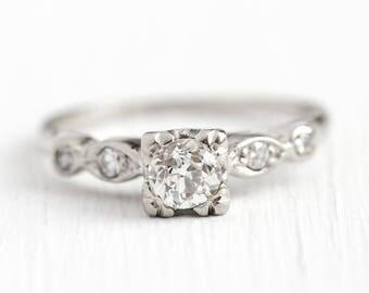 Vintage Diamond Ring - 14k White Gold .52 CTW Old European Diamond Ring - Art Deco 1940s Size 7 Engagement Square Fine Jewelry w/ Appraisal