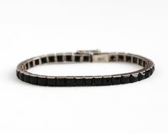1930s Tennis Bracelet - Vintage Art Deco Sterling Silver Black Glass Line Bracelet - Simulated Onyx Faceted Glass Jewelry