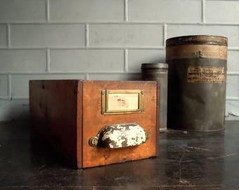 Vintage Wood Drawer / Divided Wood Drawer with Handle and Label Holder / Desktop Organizer / Storage Organization / Distressed