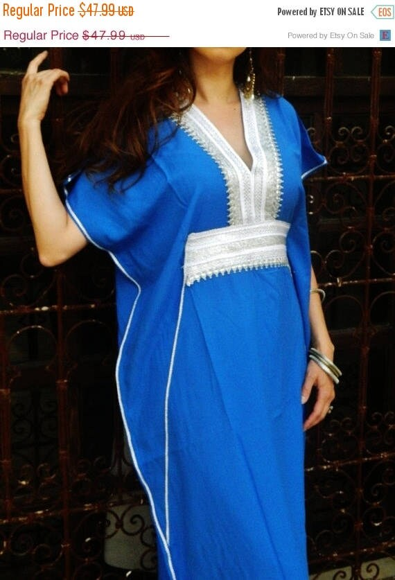 Autumn Dress 20% OFF/ Caftan Kaftan Maxi Dress Marine Style- for resort wear, beach wear, beach cover ups, lounge wear, birthday, maternity