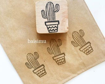 Cute cactus stamp/ rubber stamp/ handmade stamp/ cactus drawing/ drawing stamp/ crafting/ whimsical/ fun stamps/ custom made/ customized