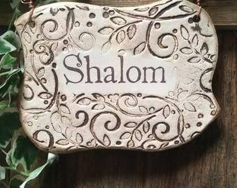 Handmade Shalom Ceramic Plaque