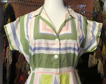 L/XL 50s Cotton Dress in Gorgeous Pastel Chevron Print