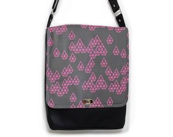 Black Messenger Bag, Vegan Messenger Bag,Vegan Leather Bag,Black Cross Body Bag,Vegan Crossbody Bag, Geometric print bag, Geo Raindrop Pink