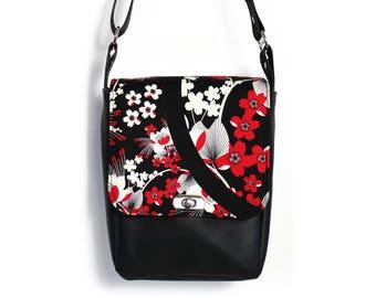 Vegan satchel women, crossbody bag, messenger bag, minimalist bag, black vegan purse, everyday bag, vegan cross body bag, red and black bag