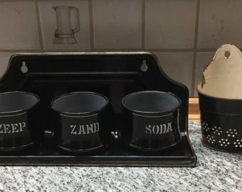 European Vintage Antique Graniteware Enamelware  Laundry Set for Zand, Seife, Zeep, Cottage Chic