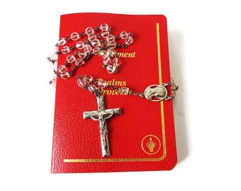 Vintage Creed Sterling Crystal Rosary- 1940s  Catholic Rosary Beads - First Communion -  Devotional Religious Gift