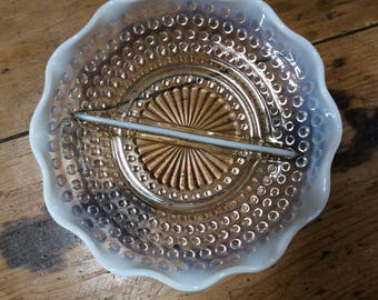 Set of Three Vintage 1930's MILK & CLEAR GLASS Fluted Edge Hobnail Pattern Vegetable Serving Bowls Dishes
