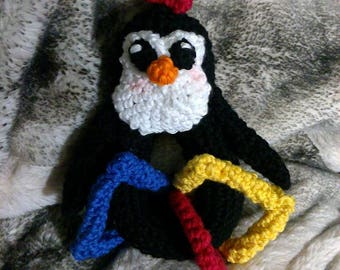 Crochet penguin baby rattle toy with shapes ANY colors you want