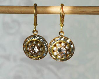 Vintage Swarovski Crystal and Faux Pearl Earrings, 18th century style jewelry, 19th century style jewelry